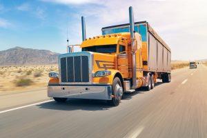 semi truck on desert highway